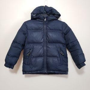 Gap Down Puffer Coat Fleece Lined Navy Blue